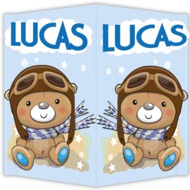 Raambord Lucas - geboortebord raam beertje pilotenmuts pilotenbril