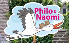 Geboortebord Philo & Naomi - tweeling meisjes ooievaar