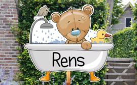 Geboortebord Rens  -  beertje badeend