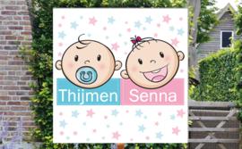 Geboortebord Thijmen & Senna - tweeling jongen meisje fopspeen strikje