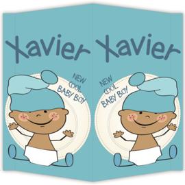 Raambord Xavier - geboortebord raam baby muts