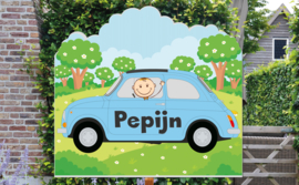 Geboortebord Pepijn  -  auto fiat 500