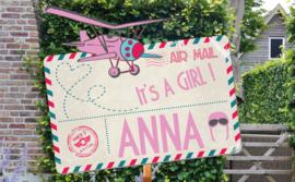 Geboortebord Anna  -  luchtpost met vliegtuigje