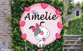 Geboortebord Amelie - hondje met strikje en hartjes
