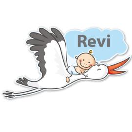 Geboortebord Revi  -  baby luier ooievaar