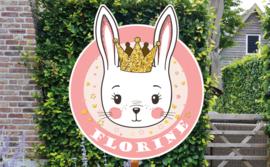Geboortebord Florine - haasje konijntje kroontje prinses