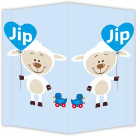 Raambord Jip - geboortebord raam schaapje hartje babyblauw