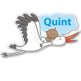 Geboortebord Quint  -  baby luier ooievaar