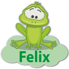 Geboortebord Felix  -  kikker wolk