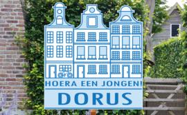 Geboortebord Dorus - amsterdam grachtenpandjes