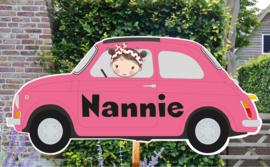 Geboortebord Nannie  -  baby in fiat 500
