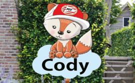Geboortebord Cody - psv mascotte baby foxy
