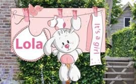 Geboortebord Lola  -  beertje aan waslijn met slabbetje