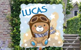 Geboortebord Lucas  - beertje piloot pilotenbril