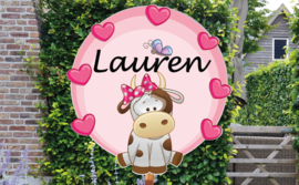 Geboortebord Lauren  -  koe met strikje, vlinder en hartjes