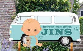 Geboortebord Jins - baby volkswagen busje retro t1