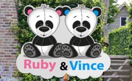 Geboortebord Ruby & Vince - tweeling jongen meisje pandabeertje