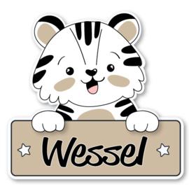 Geboortebord Wessel - schattig beertje hoera een jongen