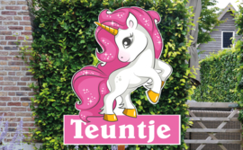 Geboortebord Teuntje - unicorn