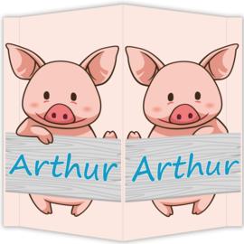 Raambord Arthur - geboortebord raam varkentje boerderij steigerhout plank