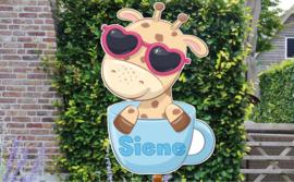 Geboortebord Siene - Giraffe met zonnebril in theekopje