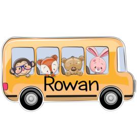 Geboortebord Rowan - dieren in busje schoolreisje