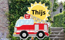 Geboortebord Thijs - brandweerwagen