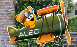 Geboortebord Alec - beertje in vliegtuigje