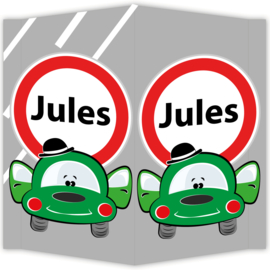 Raambord Jules - geboortebord raam auto verkeersbord
