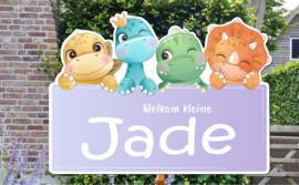 Geboortebord Jade - baby dino's lila bordje