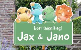 Geboortebord Jax & Jano - baby dino's groen bordje