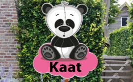 Geboortebord Kaat  -  pandabeertje op wolk
