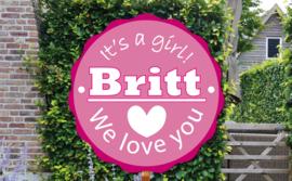 Geboortebord Britt  -  geboortebord stempel embleem hartje love
