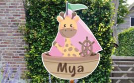 Geboortebord Mya - giraffe in zeilbootje