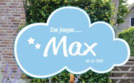 Geboortebord Max - wolkje met sterretjes geboortedatum - Een meisje....