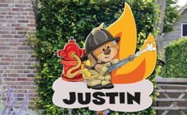 Geboortebord Justin  -  Brandweerman beertje brandweerspuit