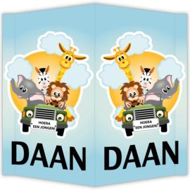 Raambord Daan - geboortebord raam dieren safari auto leeuw olifant zebra giraffe