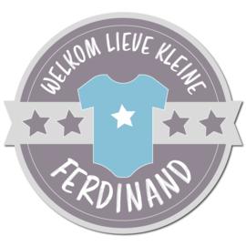 Geboortebord Ferdinand - welkom lieve kleine embleem rompertje ster