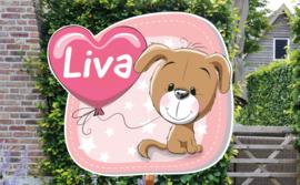 Geboortebord Liva - hondje puppy ballon hartjes sterretjes