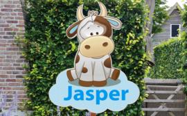 Geboortebord Jasper  -  koetje wolk