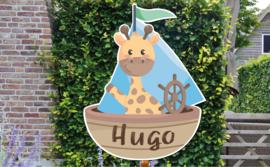 Geboortebord jongen Hugo - giraffe in bootje