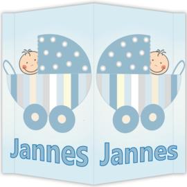 Raambord Jannes - geboortebord raam kinderwagen wandelwagen wieg