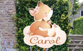 Geboortebord Carol - vos met baby vosje op wolk