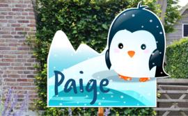 Geboortebord Paige - pinguin met ijsberg sneeuw