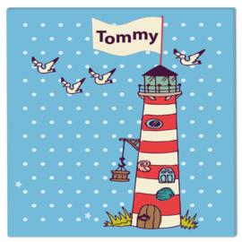 Geboortebord Tommy  -  vuurtoren zeeland