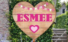 Geboortebord Esmee  -  steigerhouten (printed) hart met vlaggetjes