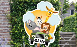 Geboortebord Daan - dieren auto safari