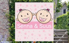 Geboortebord Senna & Suus - tweeling meisjes