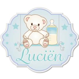Geboortebord Luciën  -  beertje schommel sterren