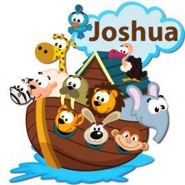 Geboortebord Joshua  -  dieren ark van Noach